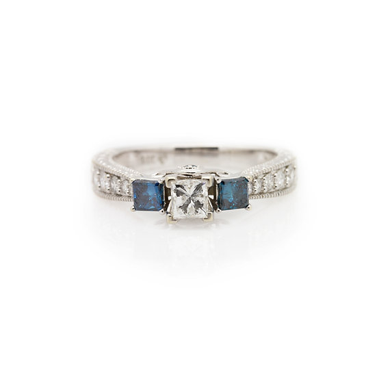 Blue Diamond Trilogy Ring front view