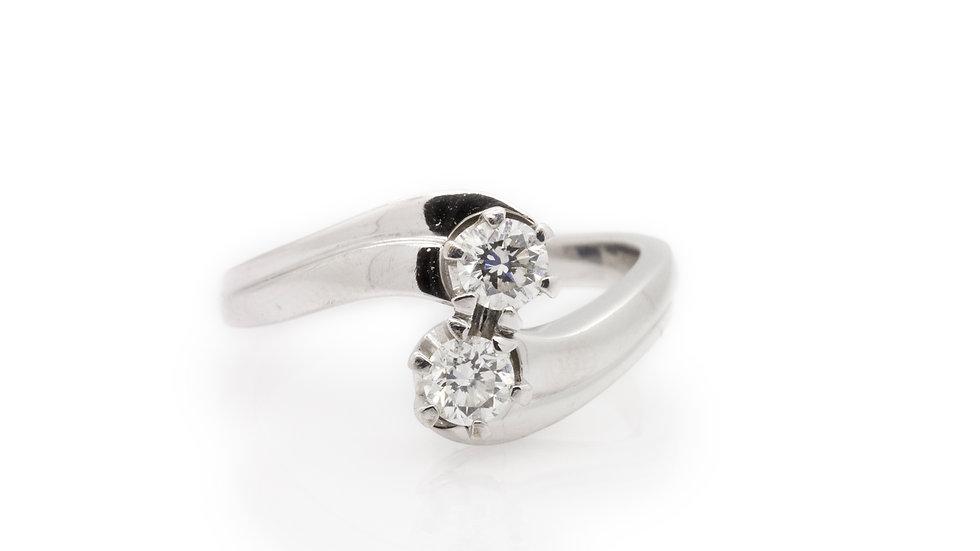 Diamond 2 Stone Twist Ring front view