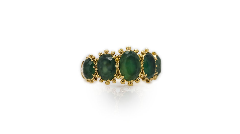 Jade 5 Stone Yellow Gold Ring view 1