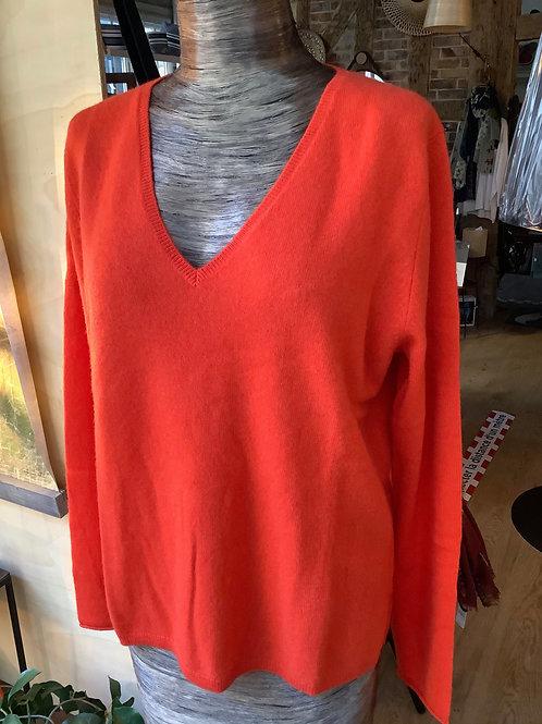 Pull cachemire Not Shy col V rouge orange