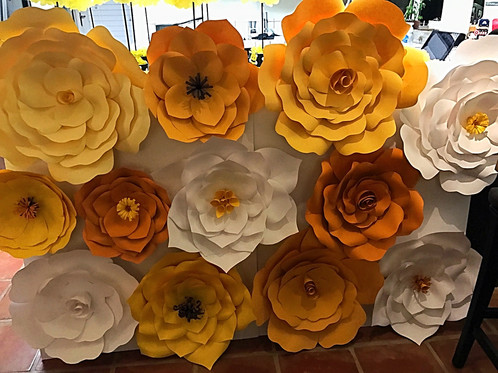 Yellow white giant paper flower backdrop gorgeous 12 piece set of paper flowers in mixed styles make your nursery birthday party baby shower wedding or any event unique with these one of a kind mightylinksfo