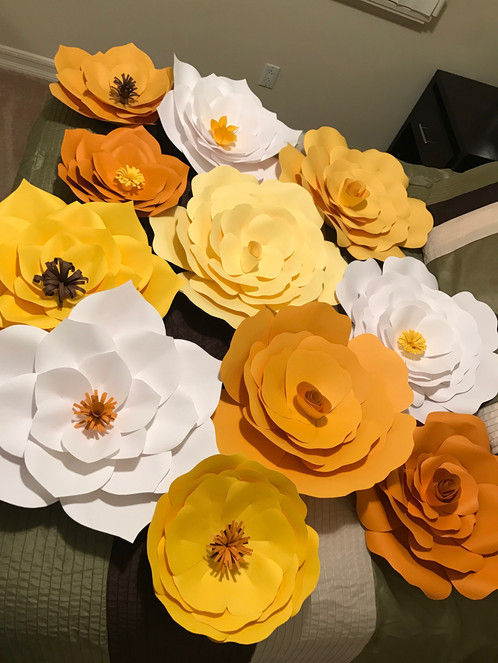 Yellow white giant paper flower backdrop mightylinksfo