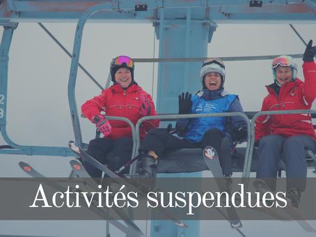 Activités d'hiver suspendues jusqu'au 8 février 2021