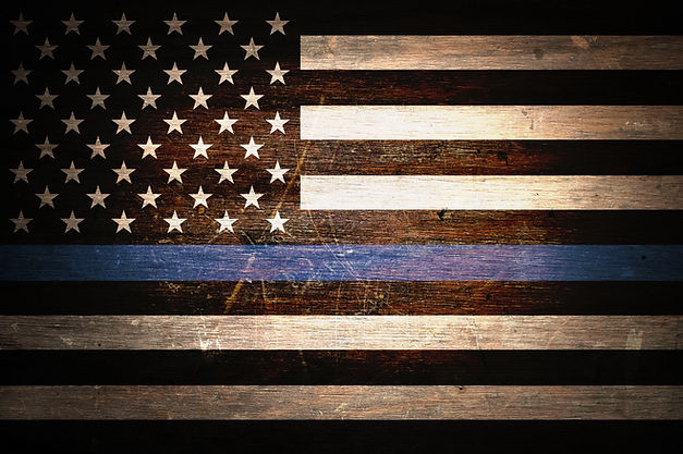 A thin blue line police flag support bac