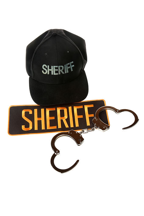 Sheriff Patch with handcuffs. Isolated o