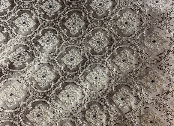 Taupe Small-Scale Damasque Design Upholstery