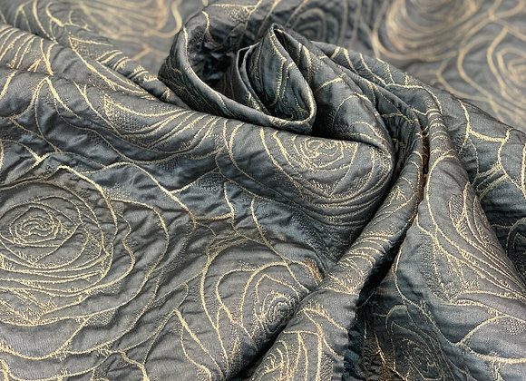 Periwinkle Crushed Metallic Yarn Brocade With a Floral Design