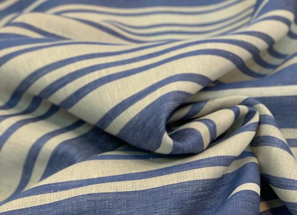 Carolina Blue and White Striped Italian Linen