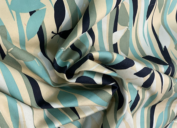 Green Leaves and Light GoldCotton Sateen
