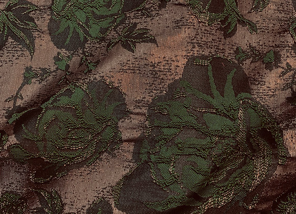 Metallic Bronze and Forest Green Floral Brocade