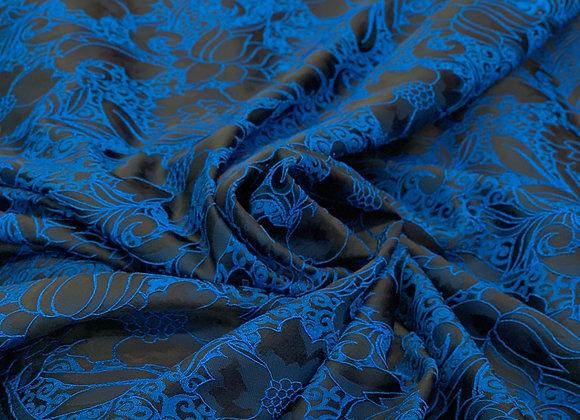 Black and Royal Blue Burnout Design Brocade