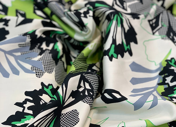 Lime and Black Floral Cotton