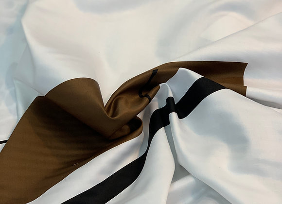 Brown and White Contemporary Design Stretch Cotton