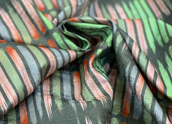 Lime and Red Striped Metallic Brocade