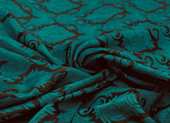 Jade Burnout Damasque Design Brocade