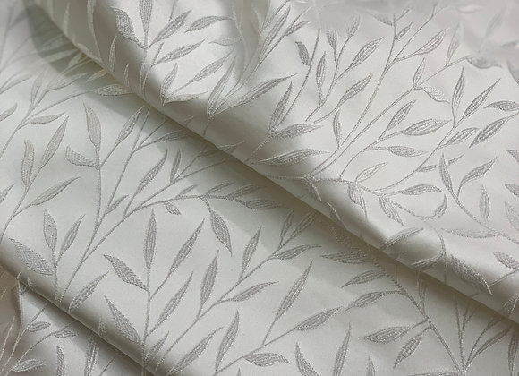 White and Silver Leaf Design Brocade