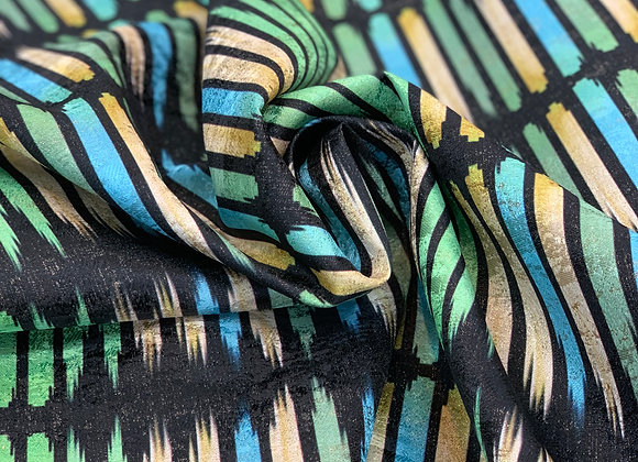 Turquoise, lime and Burned Orange Striped Metallic Brocade