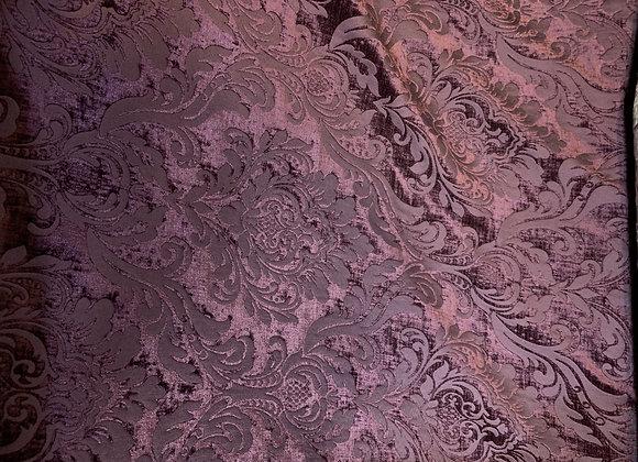 Purple Damasque Design Cut Velvet Upholstery