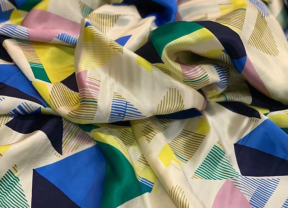 Multicolor Geometrical Design Silk Charmeuse