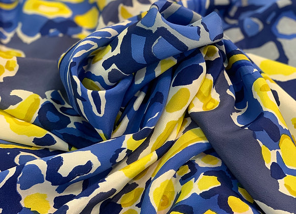 Blue Yellow and White Crepe de Chine (CDC) Silk