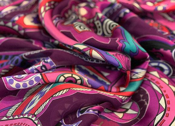 Multicolor See-Through Burnout Silk With a Unique Design