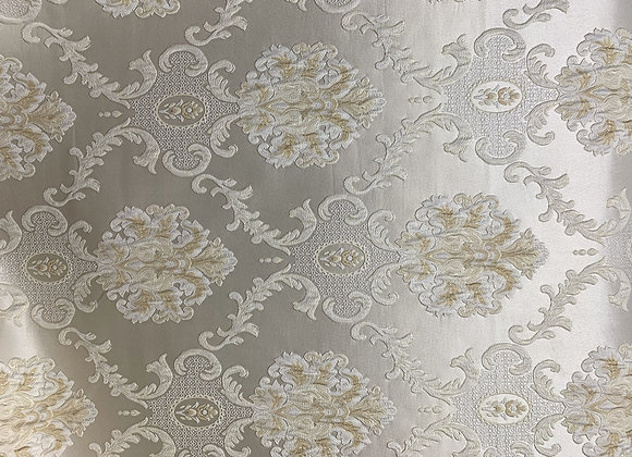 White Satin Background With Champagne Gold Damasque Design