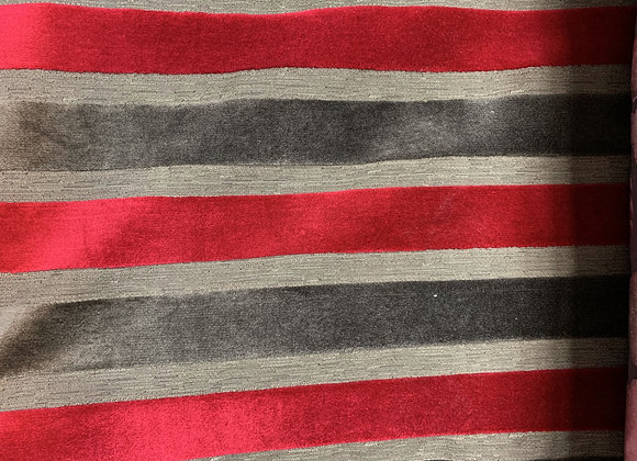 Charcoal Gray and Red Striped Cotton Velvet