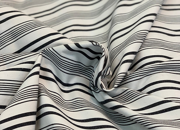 Black and White Striped Cotton Sateen