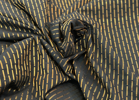 Metallic Black and Gold Segmented Striped Light-Weight Brocade