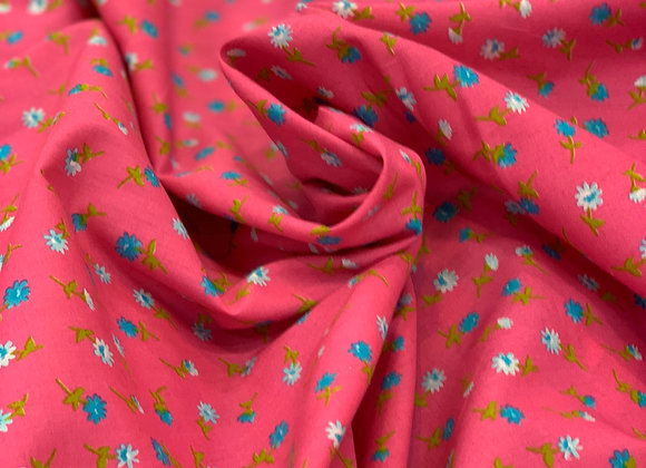 Bubble Gum Small Print Floral Cotton