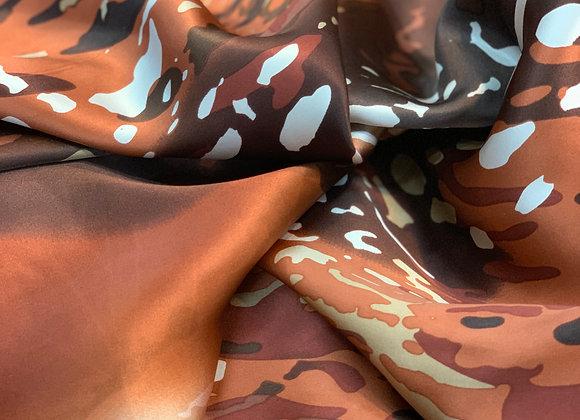 Brown Black and White Tie-Dye Silk Charmeuse
