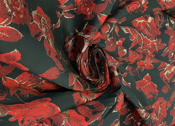 Red and Black Metallic Brocade with Floral Design