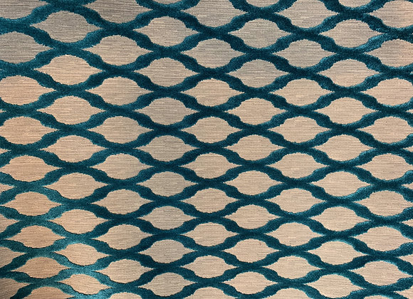 Turquoise and Taupe Heavy Cotton Upholstery