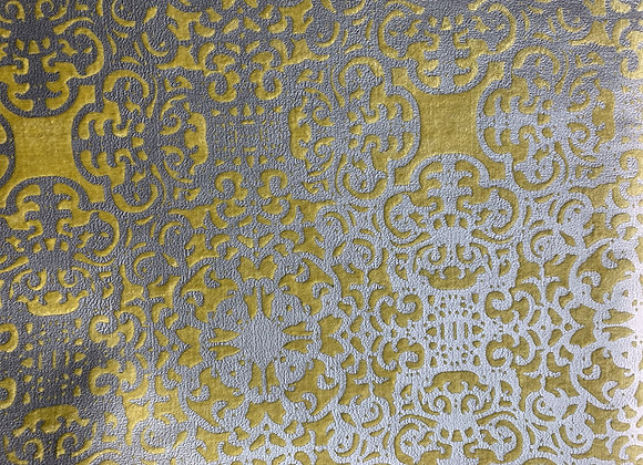 Yellow and Silver Metallic Cut Velvet With Damasque Design