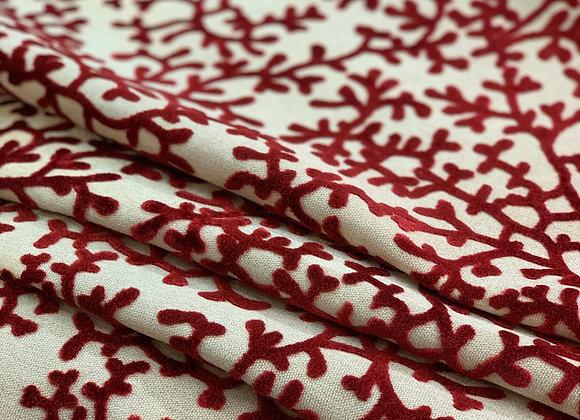 Off White and Red Branch Design Cut Velvet Upholstery