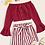 Thumbnail: Conjunto de top sin hombros y shorts de rayas