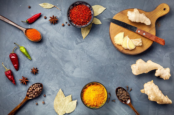 Various Spices powder turmeric, chili, b