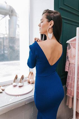 Платье в пол по фигуре синего цвета