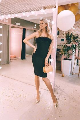 Платье миди в черном цвете с перьями на лифе
