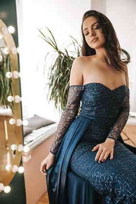 Платье бандо синее блестящее