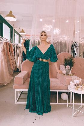 Платье изумрудного цвета с нитью люрекс