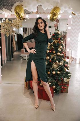 Платье изумрудное по колено YES DRESS