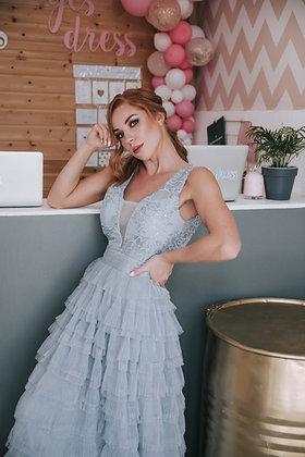 Платье ярусное голубого цвета