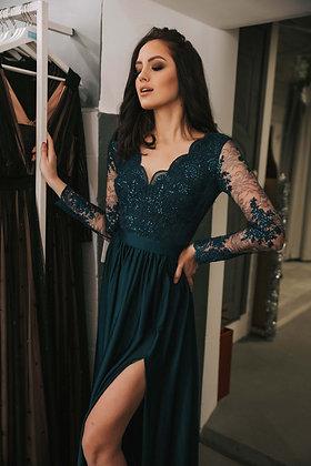 Платье изумрудного цвета с рукавом