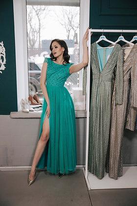 Платье зеленое с кружевным топом YES DRESS