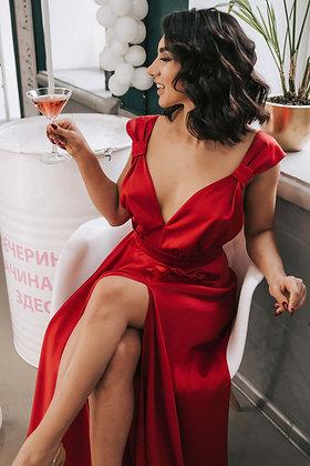Платье атласное красное Yes Dress