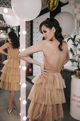 Платье миди из золотого фатина