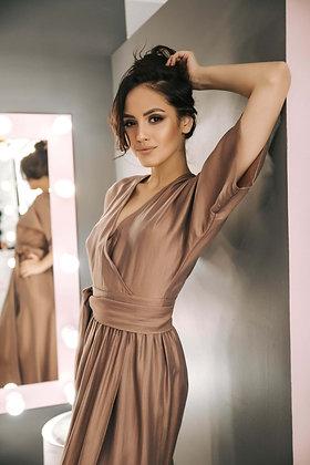 Платье-кимоно коричневое
