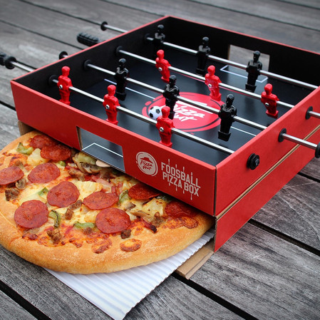 Gamer Eats:Pizza Hut Creates a Pizza Box With an Integrated Foosball Table