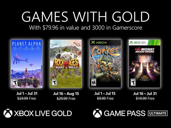 Xbox Games with Gold July: Conker: Live & Reloaded, Rock of Ages 3, more